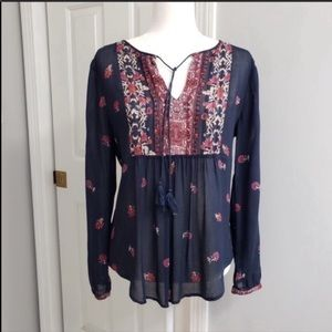 🆕✨Lucky Brand Peasant Top Navy Floral Size S.